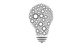 Gears rotate inside Bulb idea Mechanism seamless loopable FullHD 1080p 2D creativity animation stock video footage