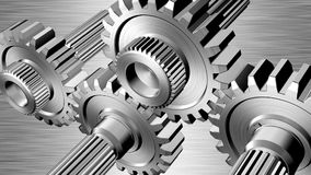 Gears. Rotating gears on steel background stock video footage