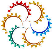 Gears round. Isolated line art emblem design Royalty Free Stock Photography
