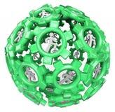 gears running sphereteamwork för globalt folk Royaltyfri Foto