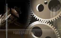 Gears and satellite background Royalty Free Stock Photo