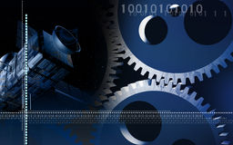 Gears and satellite background Stock Photography