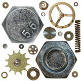 Gears, Screw heads, spring, bolts, steel nuts, old Royalty Free Stock Photo
