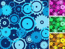 Gears seamless backgrounds set. Stock Images