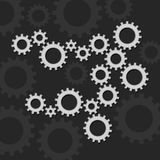 Gears Set on Dark background. Vector. Illustration Stock Image