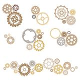 Gears set. Vector set of various gears isolated on white background Stock Photo