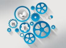 Gears with shadow and icon mouse, globe, cart. Stock Photos