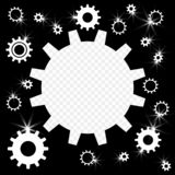 The gears are shiny, silver with highlights. Frame in the form of gears with the possibility of overlay. Vector. stock illustration