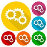Gears sign icons set with long shadow Stock Photos