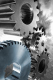 Gears in silver and blue Royalty Free Stock Image