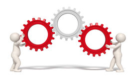 Gears solution - 3d men. 3d men working with gears representing teamwork and success - Image on white background with soft shadows Stock Illustration