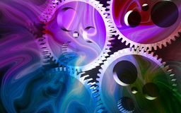 Gears and spark background Stock Photos