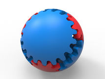 Gears - sphere shaped model. 3D render illustration of multiple gears assembled inside a sphere. The composition is isolated on a white background with shadows Stock Photo