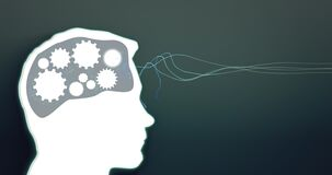 Gears spin in persons brain. Profile view. Thoughts turn. Seamless loop