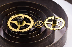 Gears and spring of hours. Close up Royalty Free Stock Images
