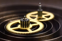 Gears and spring of hours. Close up Stock Photography