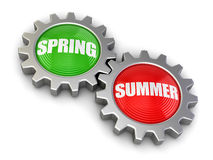 Gears with Spring and Summer (clipping path included) Royalty Free Stock Photography