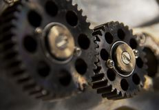 close up detail of metal and brass Gears and Sprockets stock photos