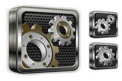 Gears in square icons Stock Photos