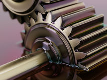 Gears Submerged in Motor Oil 3d Illustration. Closeup Royalty Free Stock Photo
