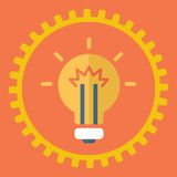 Gears symbol and Bulb light Royalty Free Stock Images