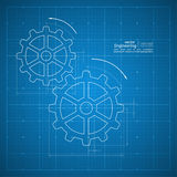 Gears symbol on the drawing paper. Paper blueprint background. Gears symbol on the drawing paper. Concept of motion and mechanics, connection and operation Royalty Free Stock Photos