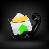 gears symbolen Mejl och telefon Arkivfoto