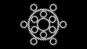 Gears-t10. Motion background with set of slow rotating gears in seamless loop. (full HD, 1920x1080,10 s stock video