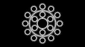 Gears-t12. Motion background with set of slow rotating gears in seamless loop. (full HD, 1920x1080,10 s stock video