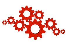Gears Team Work. Lots of shiny metal red gears; great for teamwork, collaboration and progress concepts Royalty Free Stock Images