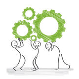 Gears, teamwork. Teamwork is work done by several associates Stock Photo