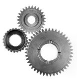 Gears. Three metal gears on plain background Stock Photo