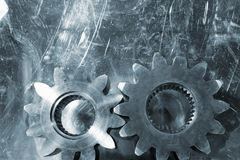 Gears in titanium royalty free stock photos