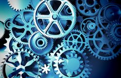 interlocking industrial metal gears toothed wheel  Royalty Free Stock Photo