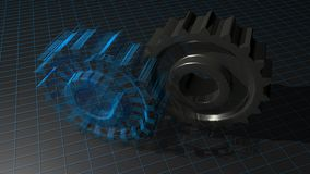 Gears - Toothed wheels: from design to production Royalty Free Stock Photos