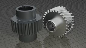 Gears - Toothed wheels. A straight toothed gear and an helical one on a measuring plane Stock Image