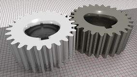 Gears - Toothed wheels. Two straight toothed wheels on a measuring plane Stock Photography