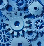 Gears turning. Teamwork background blue royalty free illustration