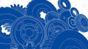 Gears Turning (Blueprint Sketch Animation) stock footage