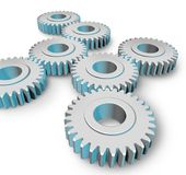 Gears turning teamwork. Gears turning representing teamwork isolated on white background vector illustration