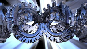 Gears twisting. With rays effects stock video