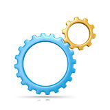 Gears. Two Plastic Colorful Gears Engaged 3D Illustration on White Background royalty free illustration