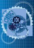 Gears vector blue background Stock Image