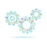 Gears vector illustration with icons set on white background. Royalty Free Stock Photos