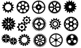 Gears vector set. Set of 20 simple gears Stock Images