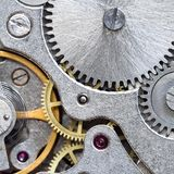 Gears of vintage steel mechanical watch. Close up stock images