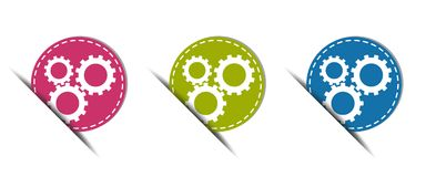 Gears Web Button - Colorful Vector Icons - Isolated On White. Background Vector Illustration