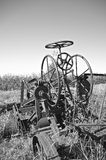 Gears and wheels of an old road grader(black and white) Royalty Free Stock Images