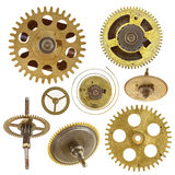 Gears on white background. Detail of the gears isolated on white background Stock Photos