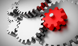 Free Gears With One Little Red Wheel Royalty Free Stock Image - 76420856